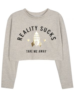 Take Me Away Cropped Graphic Sweatshirt - Gray
