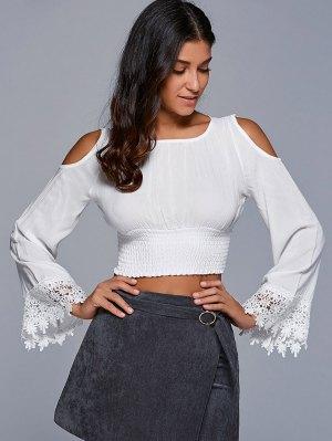 Smocked Cold Shoulder Cropped Top - White