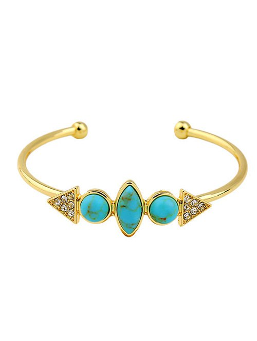 Rhinestone Synthetic Stone Geometric BraceletAccessories<br><br><br>Color: TURQUOISE