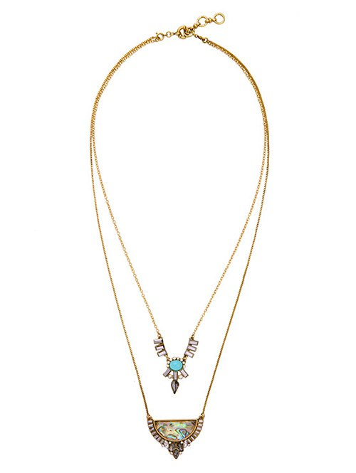 Faux Gem Rhinestone Layered Necklace