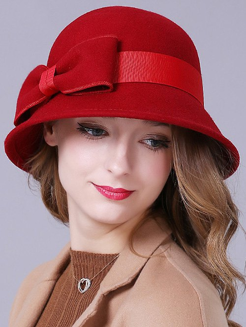 Big Bowknot Band Felt Cloche HatAccessories<br><br><br>Color: RED