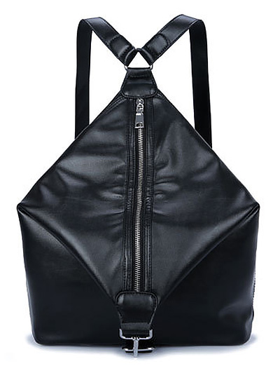 Zip PU Leather Backpack