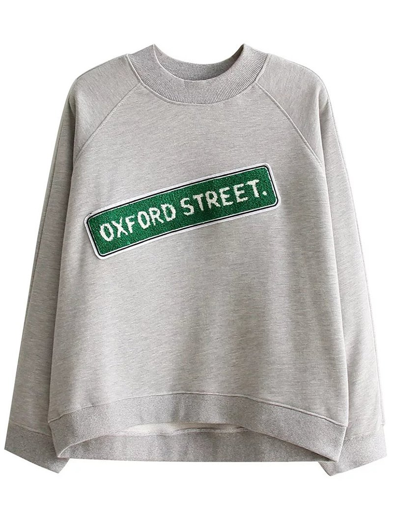 Letter Print Patched Loose Sweatshirt