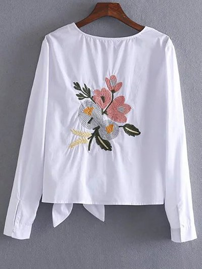 Fitting Embroidered Bowknot T-Shirt