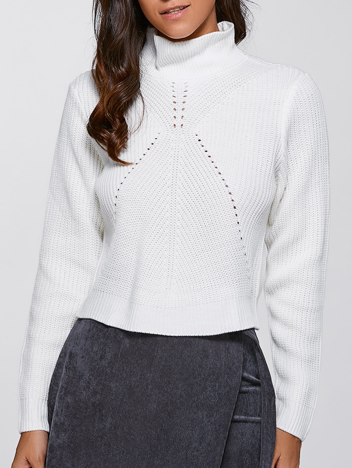 Stand Neck Long Sleeve Short Sweater