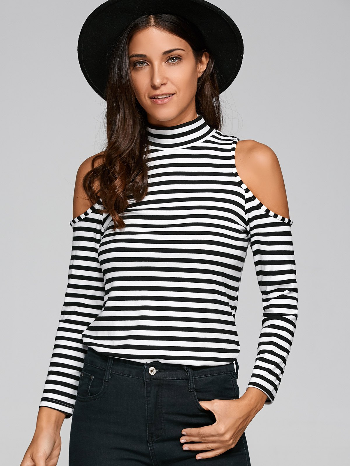 Turtleneck Striped Cold Shoulder T-Shirt