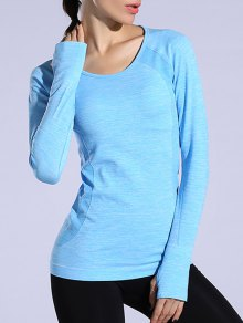 Gloved Long Sleeve Quick Dry T-Shirt - Azure M