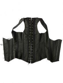 Vintage Lace Up Steel Boned Corset Vest - BLACK M