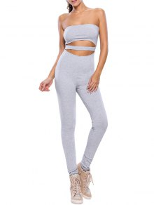 Sporty Strapless Hollow Out Gym Jumpsuit