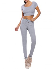 Buy Casual Crop Top Pants Fitness Gym Outfit M GRAY