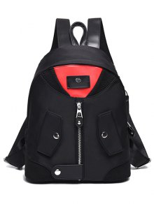 Nylon Colour Block Snap Closure Backpack - Red With Black