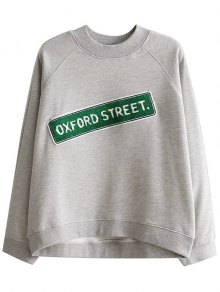 Patched Loose Letter Sweatshirt