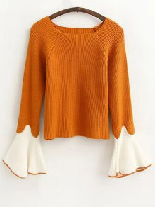 Flare Sleeve Color Block Sweater