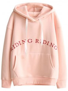 Pocket Embroidered Hoodie - Pink S