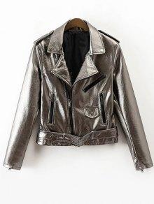 PU Biker Jacket - Silver M
