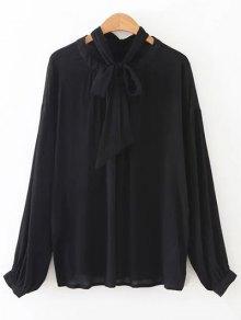 Bowknot OL Sheer Blouse - Black S