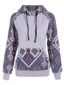 Front Pocket Jacquard Panelled Hoodie - Gray And Blue M