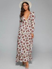 Empire Waist Maxi Floral Plunging Neckline Dress - White