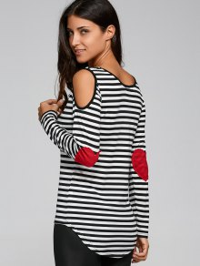 Casual Striped Cold Shoulder T-Shirt