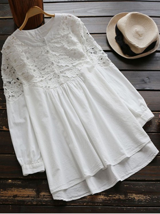 Lace Spliced High Low Smock Dress - WHITE ONE SIZE Mobile