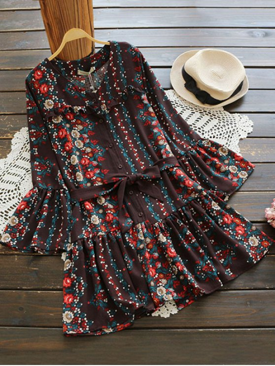 Bell Sleeve V Neck Tiny Floral Dress - COFFEE ONE SIZE Mobile
