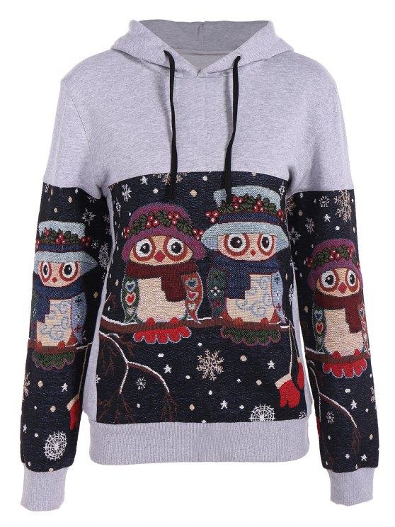 Copo de nieve de Navidad con capucha del búho Jacquard - Gris M