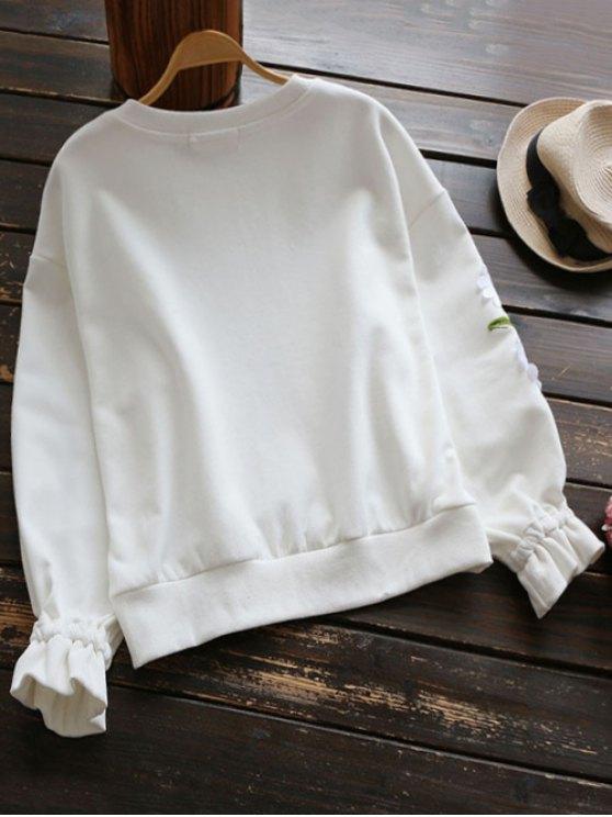 Floral Applique Sweatshirt - WHITE S Mobile