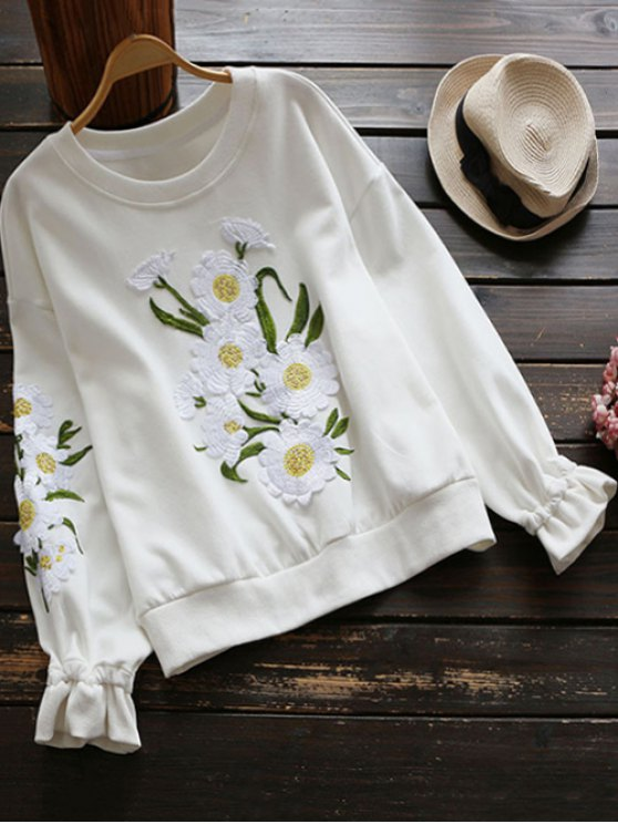 sweat-shirt fleuri a encolure - Blanc S