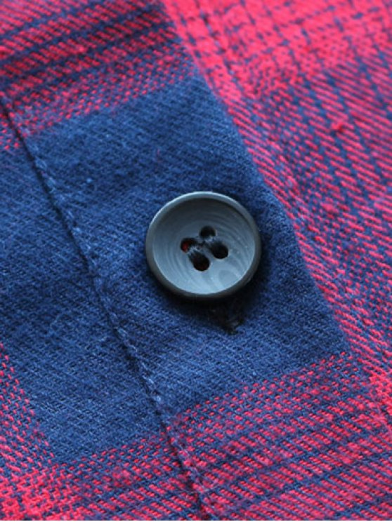 Pockets Plaid Tunic Flannel Shirt Dress - GREEN L Mobile