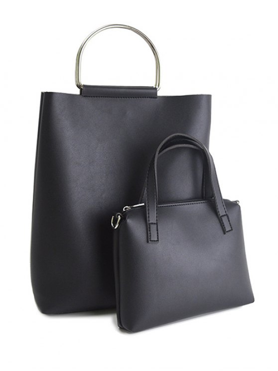 online Magnetic Metal Handle PU Leather Tote Bag - BLACK