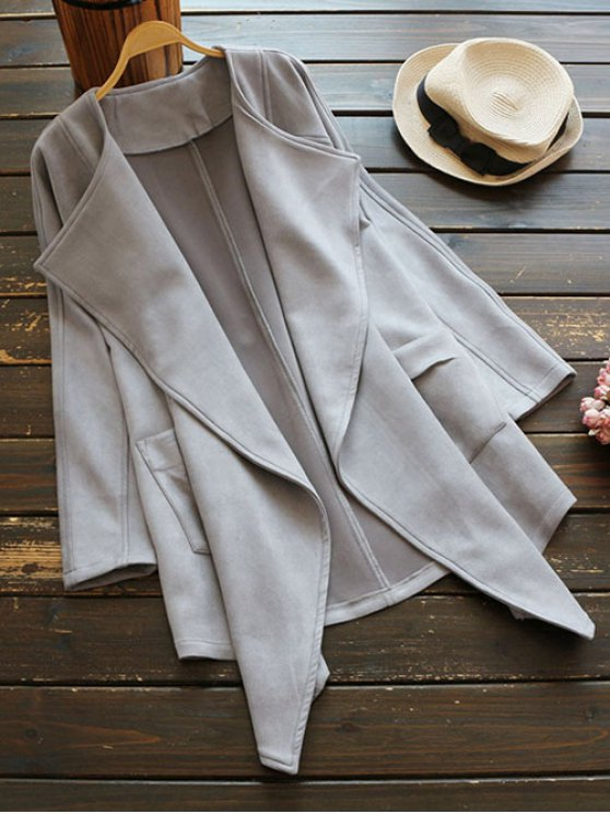 Suede Drape Front Coat - GRAY ONE SIZE Mobile