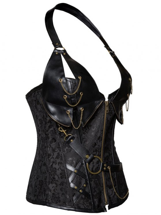 Halter Faux Leather Steel Boned Corset - BLACK 2XL Mobile