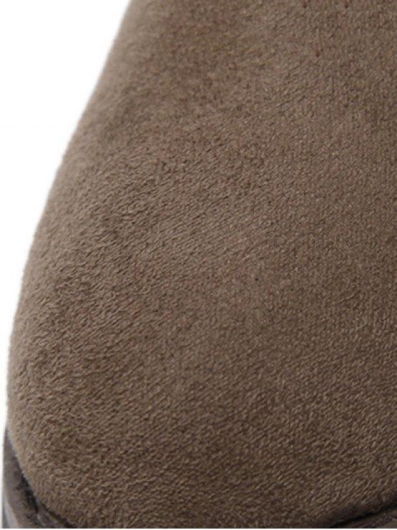 Dark Colour Zipper Buckle Ankle Boots - DARK COFFEE 39 Mobile