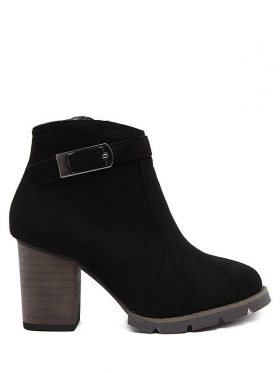 Dark Colour Zipper Buckle Ankle Boots - BLACK 38 Mobile