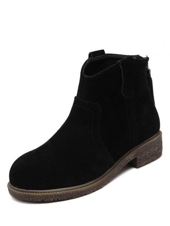 Zipper Dark Colour Suede Ankle Boots - BLACK 37 Mobile