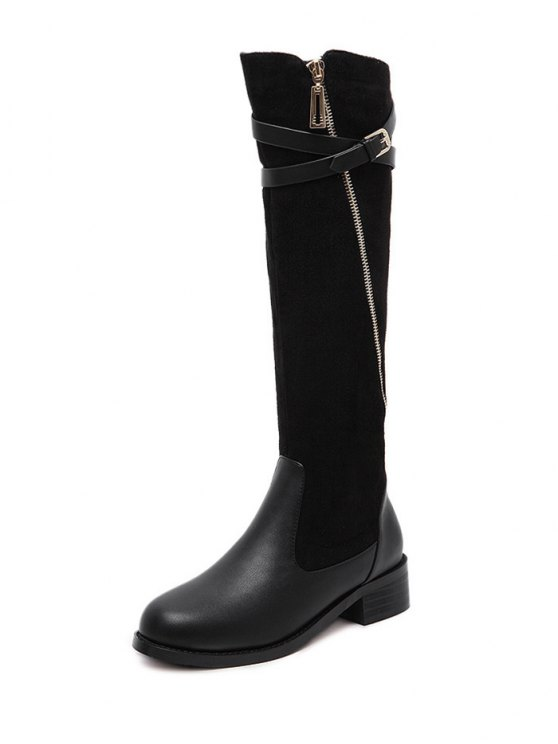 Cross Straps Buckle Splicing Boots - BLACK 37 Mobile
