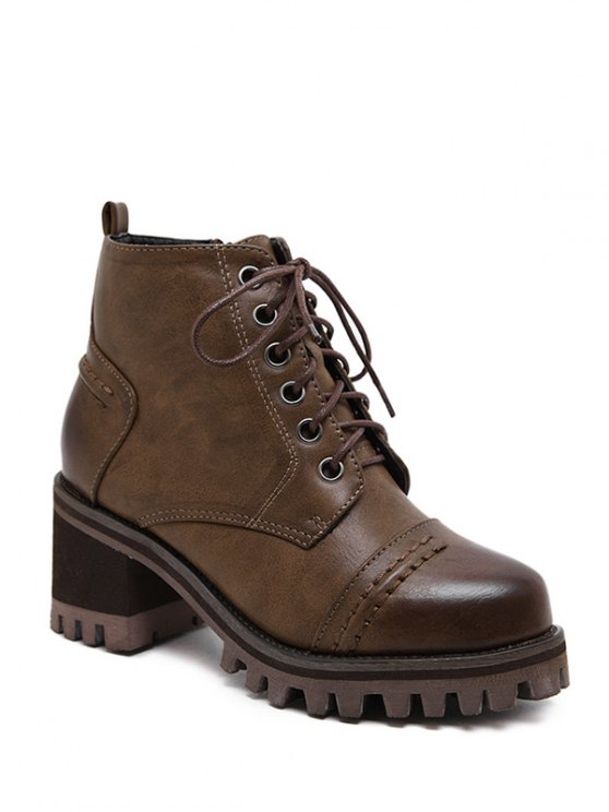 Chunky Heel Platform Lace-Up Ankle Boots - BROWN 38 Mobile