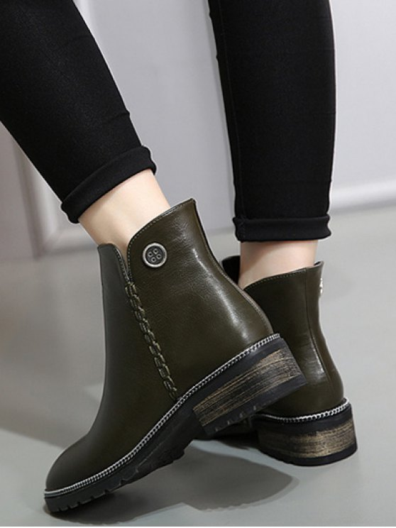 Chain Stitching Button Ankle Boots - ARMY GREEN 39 Mobile