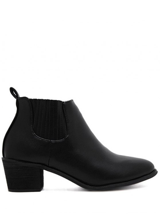 affordable Stitching Chunky Heel Pointed Toe Ankle Boots - BLACK 39