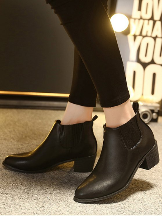 Stitching Chunky Heel Pointed Toe Ankle Boots - BLACK 38 Mobile