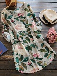 الأزهار كم طويل الكتان بلوزة اللباس - الأزهار