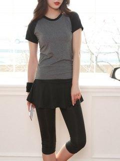 Color Block Fitting T-Shirt And Capri Running Pants - Gray S