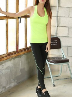 U Neck Skinny Tank Top And Stretchy Gym Pants - Neon Green S