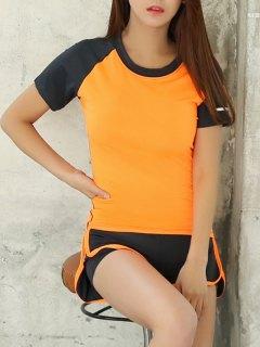 Raglan Sleeve Color Block T-Shirt And Fitting Gym Shorts - Orange S