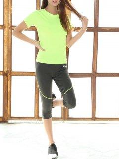 Raglan Sleeve Fitting T-Shirt And Capri Skinny Pants - Neon Green L