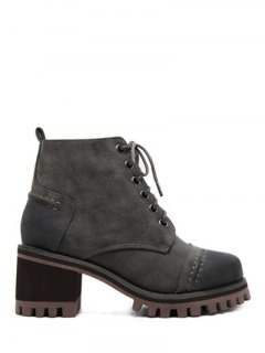 Chunky Heel Platform Lace-Up Ankle Boots - Gray 37