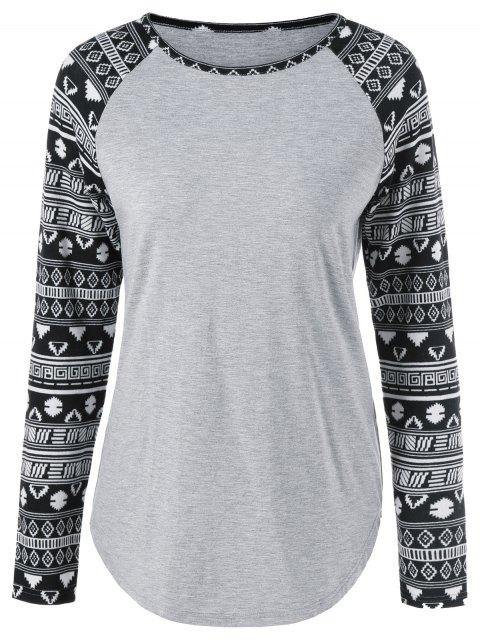 chic Long Tribal Sleeve T-Shirt - LIGHT GRAY XL Mobile