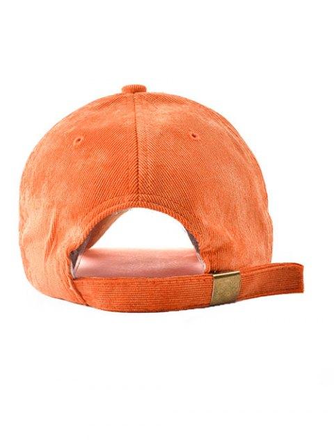 chic CRIMP Embroidery Corduroy Baseball Hat - SWEET ORANGE  Mobile
