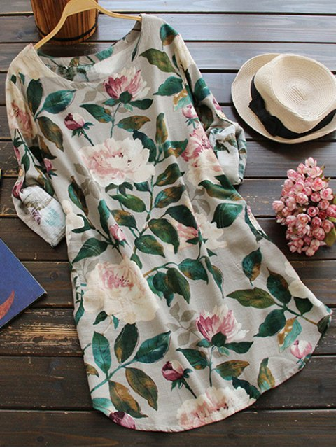 buy Floral Long Sleeve Linen Blouse Dress - FLORAL ONE SIZE Mobile