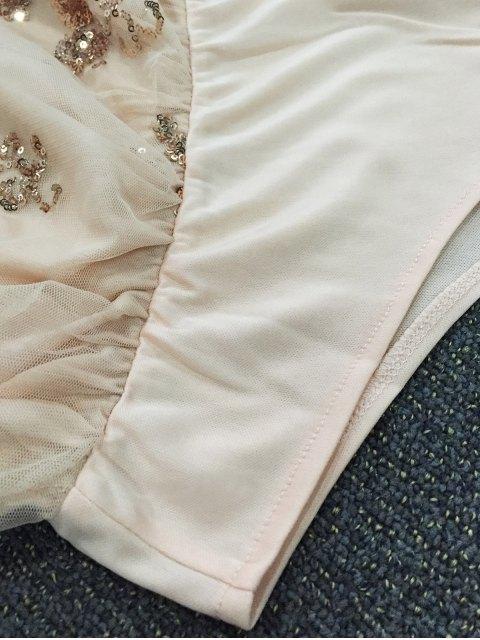 hot Off The Shoulder Sequins Bodysuit - PINK L Mobile